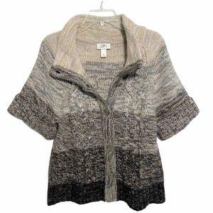 LOFT Tan Gray & Brown Short Sleeve Cardigan Size M
